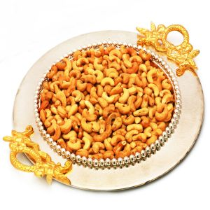 Diwali Gifts - Golden Silver Round Tray with Roasted Cashews