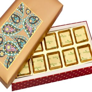 Chocolates- Gold Printed 10 PCs Roasted Almond Chocolate Box