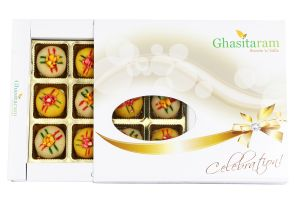 Diwali Gifts - Ghasitarams Sweets Assorted Mawa Peda 12 PCs White Box - 200gms
