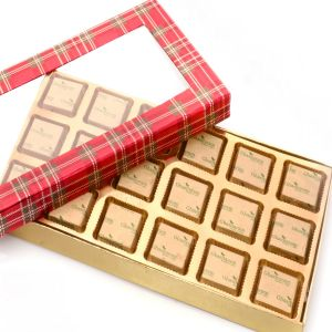 Diwali Gifts Sweets - Red Checks 18 PCs Mewa Bites Box