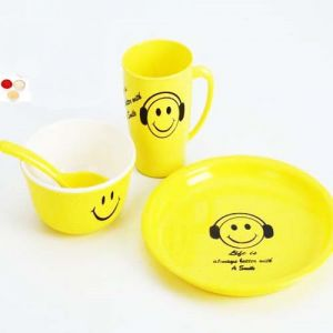 Bhaidooj Gifts Kids Gifts Smiley Plate Set