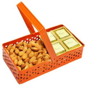 Diwali Hampers- Rectangle Orange Metal Basket With Chocolate And Almonds
