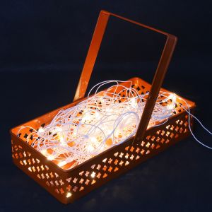 Diwali Lights- Rectangle Orange Metal Light Basket