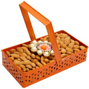 Diwali Hampers- Rectangle Orange Metal Basket With Almonds And T- Lite