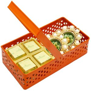 Diwali Hampers- Rectangle Orange Metal Basket With Chocolate And 2 T- Lites