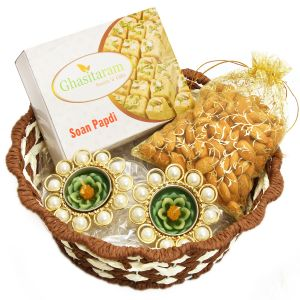 Diwali Hampers-brown Round Cane Basket With Soan Papdi, Almonds And 2 T-lites