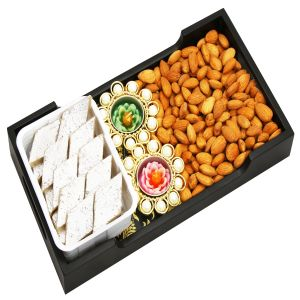 Diwali Gift Hampers - Diwali Hampers-  Yellow Wooden Serving Tray with Almonds, Kaju Katli and 2 T-Lites