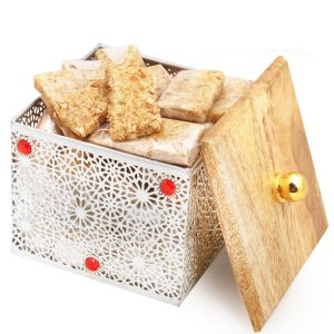 Diwali Gifts Healthy Hampers - Silver Wooden Granula Bars Box