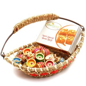 Jute Cane Boat Basket With Nani