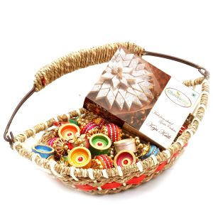 Jute Cane Boat Basket With Kaju Katli, Toran And Diyas