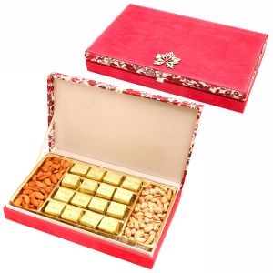 Diwali Gifts Sweets-pink Velvet Wooden Hamper Box With Mewa Bites, Almonds And Pistachios
