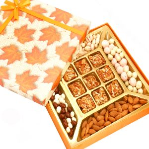 Hampers - Orange Print Almonds, Pistachios, Nutties, Fruit Coated Chocolates And 9pcs Roasted Almond Bites Box
