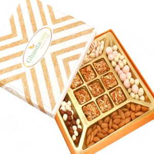 Hampers - Ghasitaram Special Almonds, Pistachios, Nutties, Fruit Coated Chocolates And 9pcs Roasted Almond Bites Box