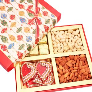 Dryfruits-red Square Dryfruits, Chocolates And Rangoli Hamper Box