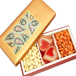 Dryfruits- Golden Printed Cashews, Almonds, And Rangoli Hamper Box