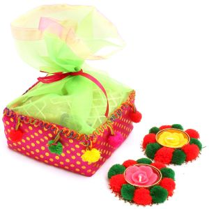 Diwali Gifts Diwali Hampers Colourful Granula Bites Pouch With 2 T-lites