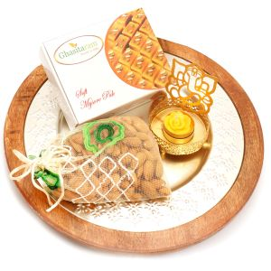 Silver Wooden Platter With Mysore Pak , Almonds Pakouch And Ganesha T-lite