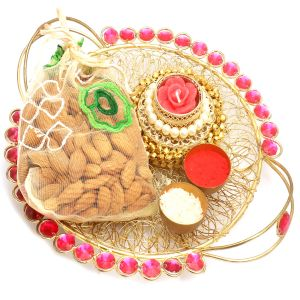 Dryfruits Hampers - Golden Mesh Pooja Thali With Gungroo T- Lite And Almonds Pouch