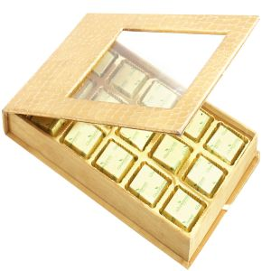 Golden Leather Finish 15 PCs Chocolates Box