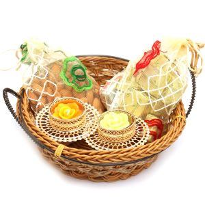 Hampers - Small Cane Basket With Almonds, Chocolate Pouches And 2 T-lites