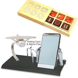 Clocks-card Holder, Mobile Stand,memo Pad And Clock Btc - 145