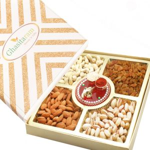 Diwali Hampers - Ghasitaram Special Dryfruit Box With Mini Pooja Thali