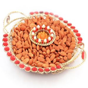 Diwali Hampers - Golden Mesh Thali With T- Lite And Almonds