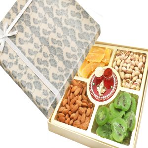 Bhaidooj Gifts - Grey Print Almonds, Pistachios, Dried Kiwi And Mango Box With Mini Pooja Thali