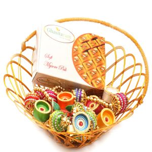 Hampers - Gold Wired Basket With Mysore Pak, Toran And Diyas