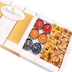 Mithai Hampers - Assorted Dryfruit Chikki And Set Of 10 T-lites