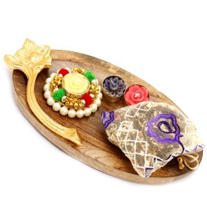 Diwali Hampers - Wooden Pooja Thali/ Platter With Pearl T-lite And English Brittles Pouch