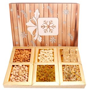 Diwali Gift Hampers - Diwali Gifts Diwali Hampers Hands of joy Hamper box with Almonds, Cashews, Pistachios, Raisins, Roasted Namkeen and Granula Bites 600 gms