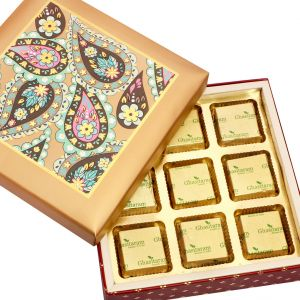 Sugarfree Chocolates- Gold Printed 9 PCs Roasted Almond Sugarfree Chocolates Box