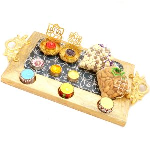 Dryfruits Hampers - Big Wooden Serving Platter With Shadow Laxmi Ganesha T-lite, 6 T-lites, Almonds And Nutties Pouches