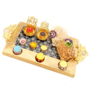 Big Wooden Serving Platter With Shadow Laxmi Ganesha T-lite, 6 T-lites, Almonds And Granola Bites Pouches