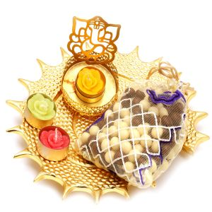 Chocolates Hamper - Golden Shell Platter With Ganesha T-lite And Nutties Pouch
