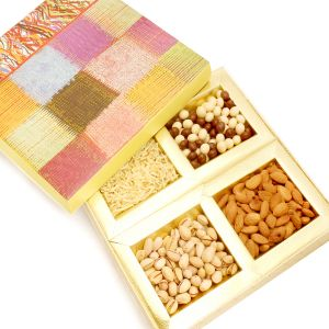 Diwali Dryfruits Hampers - Pink Velvet Wooden Hamper Box With Almonds, Pistachios, Namkeen And Nutties 400 Gms