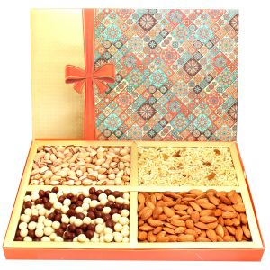 Diwali Dryfruits Hampers - Printed Bow Hamper Box With Almonds, Pistachios, Namkeen And Nutties 800 Gms