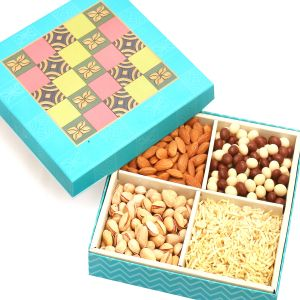 Diwali Dryfruits Hampers - Blue Colourful Print Hamper Box With Almonds, Pistachios, Namkeen And Nutties 400 Gms
