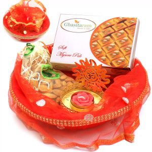 Red Potli Basket With Kaju Katli And Almonds Pouch And Om T- Lite