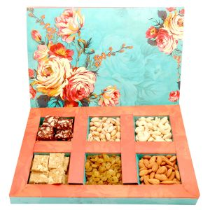 Diwali Gifts Diwali Hampers Floral Hamper Box With Sugarfree Dates And Figs Bites, Granula Bites And Dryfruits