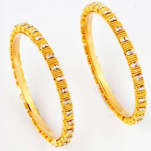 Gold And Diamond Bangles-bngl92259