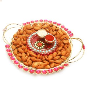 Diwali Hampers Golden Mesh Almond Tray With Mini Pooja Thali