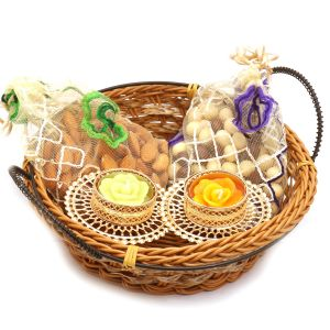 Hampers - Small Cane Basket With Almonds, Nutties Pouches And 2 T-lites