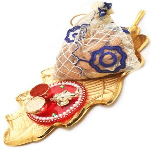 Dryfruits Hampers - Gold Leaf Almonds Pouch Platter With Mini Pooja Thali Hamper