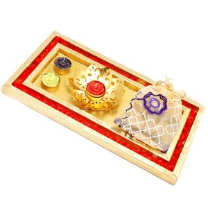 Red And Gold Thali/ Platter With Golden T-lite And Granola Bites Pouch