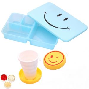 Bhaidooj Kids Gifts Smiley Tiffin Set With Smiley Magic Cup
