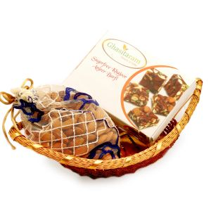 Diwali Gifts Healthy Hampers - Boat Basket With Sugarfree Mix And Almonds Pouch