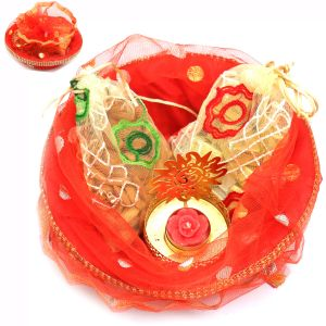 Hampers - Red Potli Basket With Almonds, Chocolate Pouches And Om T- Lite