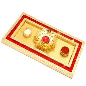 Bhaidooj Gifts - Red And Gold Pooja Thali/ Platter With Golden T-lite